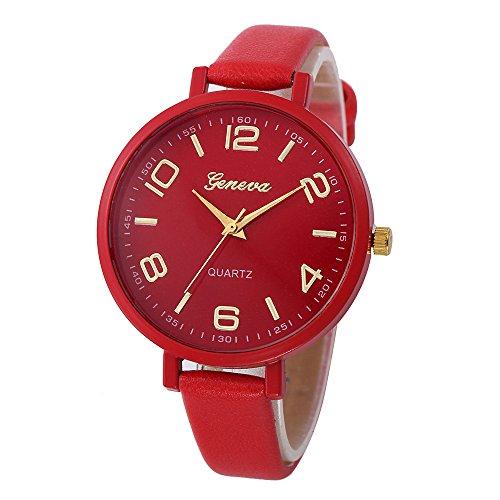 Damen Leder Uhren,Kimdera Damen Quarts Uhr Mode analog Legierung Armbanduhr geschäft beiläufig Bralette Geschenk, rundes zifferblatt Luxus Uhren (rot)