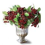Felice Arts rich Red Berry gambi bacche di agrifoglio di Natale artificiale per festa e decorazioni per la casa 10 Pcs Red Berry