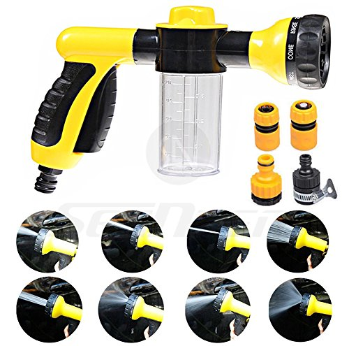 Foam Water Spray Gun - Multifunctional High Pressure Washing Tool - Heavy Duty 8 Pattern Metal Watering Nozzle - Water Gun Garden Hose Nozzle Sprayer Gun - Flow Control Setting Knob - Designed for Car Washing, Garden/Lawn Watering, Room/Deck/Floor Cleanin