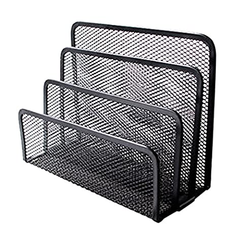Beauty360 Lever Arch Files Iron Book Rack Display Magazine, Office Documents Metal Mesh Simple File Folder Holder Durable, Compact (174*137*77mm)