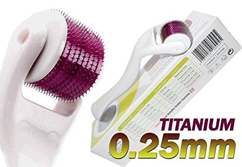 (540 Aiguilles) TMT Blanc micro Needle Roller System Titanium pour les rides, cicatrices, acné, traitement de la cellulite (Plus efficace que régulier 192 Rouleaux Derma Aiguille) – 0,25 mm