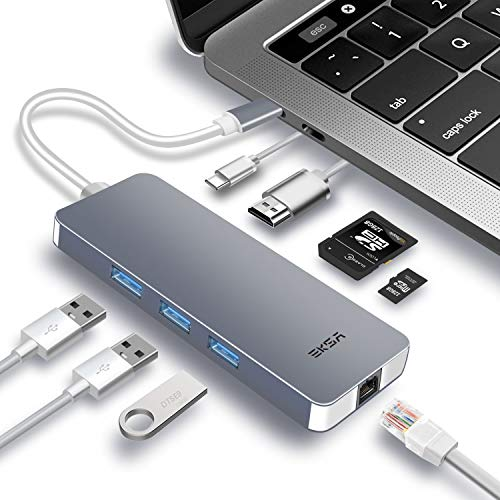 EKSA USB C Hub 8-in-1 Aluminium USB C Adapter mit 4K HDMI, RJ45 Gigabit Ethernet, 3 * USB 3,0 Anschluss, SD/Micro SD Kartenleser und USB Typ-C Ladeanschluss für MacBook Pro 2017/2018 (Matt Silber)