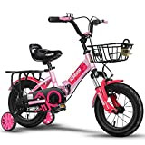YYS Bicicleta for niños, Cochecito de bebé, 12/14 Pulgadas, Bicicleta Plegable for niños, Amortiguador de Choque (Color : Pink, Size : 18')