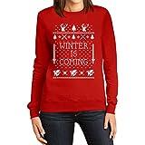 Winter Is Coming Pullover Damen Rot Small Sweatshirt - Motiv für Weihnachten