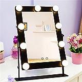 Mufly Miroir de Maquillage 1 Face sur Pied avec 9 lampes Rabattable pour Miroir de Style Professionnel à LED(Noir)...