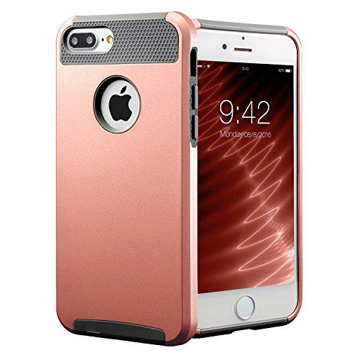 iPhone 8 Plus Hülle, iPhone 7 Plus Hülle,Anti-Rutsch-Perfect-Fit iPhone 8 Plus (4.7 Inch) Hartplastik Silikon Schutzhülle Gummi Stoßstange Schlank für iPhone 7 Plus (2016)&iPhone 8 Plus(2017)Rose Gold Rose Gold