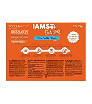 Iams Mer Sea Collection Nourriture Humide en Gelée pour Chat Adulte Toutes Les Races 12 Sachets x 85 g