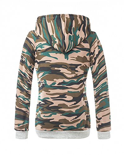 Femmes Sweatshirt Pull Pullover à Manches Longues Hoodie de Camouflage Tops Blouse Type 14