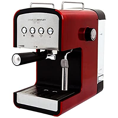 Charles Bentley 2-cup Steam Espresso & Cappuccino, Latte Maker, Stainless Steel Coffee Maker Machine 850W 15 Bar, Red by Charles Bentley