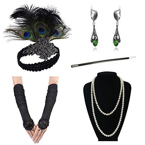 Accessori degli anni'20 Set copricapo Flapper Accessori per abiti Charleston -Guanti di raso della collana della perla della fascia della flapper degli anni 20