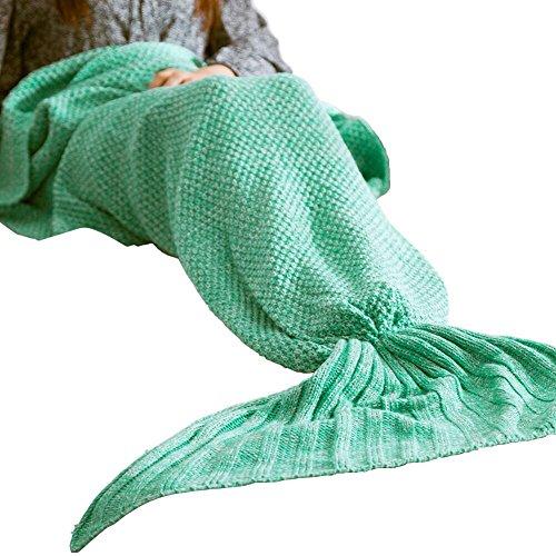 Meerjungfrau Decke Beichen weich stricken handgemachte Seejungfrau tails Blanket Wohnzimmer Schlafsäcke für Kinder und Erwachsene Mermaid Blanket (Mint Green)