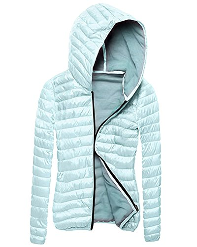 Damen Winterjacke Steppjacke Parka Warm Mantel Jacke mit Kapuze Himmelblau XL