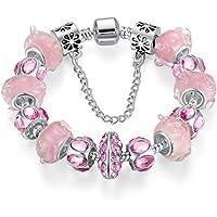 Mothers Day Wostu Deals Discount Safe catene, colore: rosa, placcata in argento con perline in vetro, Charm, motivo Pinky Braccialetto da ragazza