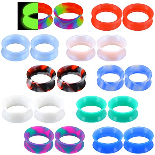 OUFER 20PCS 6G-1'' Thin Silicone Double Flared Flexible Tunnel Ear Tunnel Silicone Mixed Colors Set Ear Gauges Piercing 1ft 4 Gauge