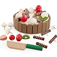Keepwin Wooden Birthday Cake Pretend Play Food Toy Set for Childrens - Cutting Toy Set Kids Educational Toys (Brown)
