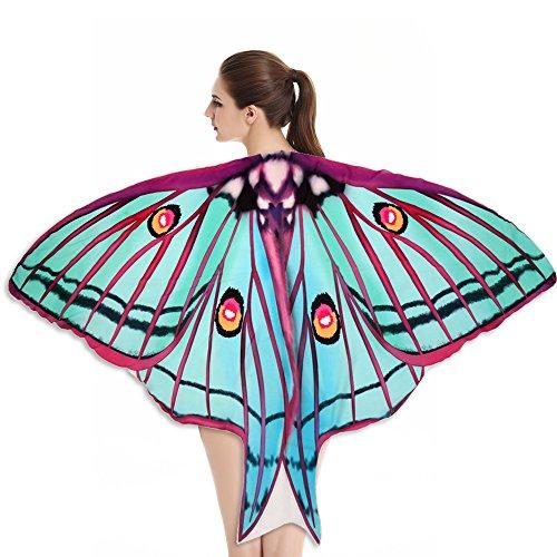 Lazzboy Weicher Stoff Butterfly Wings Schal Fairy Nymph Pixie Kostümzubehör Modelle Sarong Pareo Wickelrock Strandtuch Tuch Wickeltuch Handtuch Gratis Schnalle(D,Ca 180X145CM) (Übergröße Fairy Kostüm)