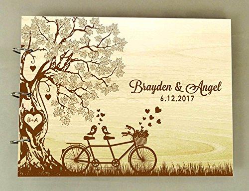 Mariage rustique bois bois gravé nom livre conseil livre à la main personnalisé arbre livre d'or