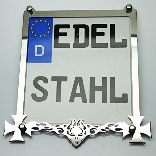 Exklusive Motorrad Kennzeichenhalter Edelstahl Hochglanz poliert SCHÄDEL Custom