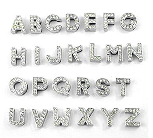 � Charms Buchstaben für Hundehalsband Katze Collar Armband Halsband (Style C (bitte wählen 30stk. Buchstaben von A-Z), 10MM) (Mardi Gras Farbe)