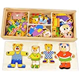 Vococal-Rompecabezas de madera / Vestir Rompecabezas de la familia de osos / Rompecabezas juguetes / Juegos educativos juguetes para Infantiles Bebés Niños