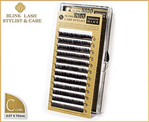 Einzelne hohe Qualität Wimpern für Wimpernverlängerung 10 mm - C curl - 0,07 mm Blink Lash Stylist mit echten Aufkleber !!! Der beste Preis auf Amazon !!!
