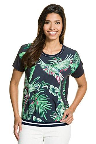 GINA_LAURA Damen | bis Größe XXXL | Shirt Papageien-Print | Rundhals & Kurzarm | locker geschnitten, elegantes Blusen-Material | schwarz-grün gemustert | 711099 Navy