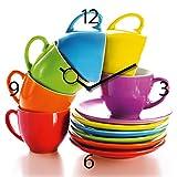 Wanduhr aus Glas für die Küche, Joyful Espresso Drinking, bunte Tassen gestapelt, 30x30 cm von Eurographics