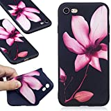 DENDICO Coque iPhone 7 Plus / 8 Plus, Ultra Mince Silicone Coque pour Apple iPhone 7 Plus / 8 Plus, Étui Housse Protection Anti Choc Bumper Case Cover - Noir, Fleur