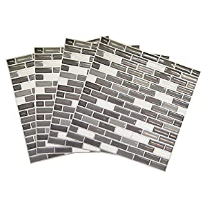 Wootile 4er Set Mosaik 3D Fliesenaufkleber selbstklebend 23 x 23 cm Küche Bad Wandaufkleber Fliesendekor Folie