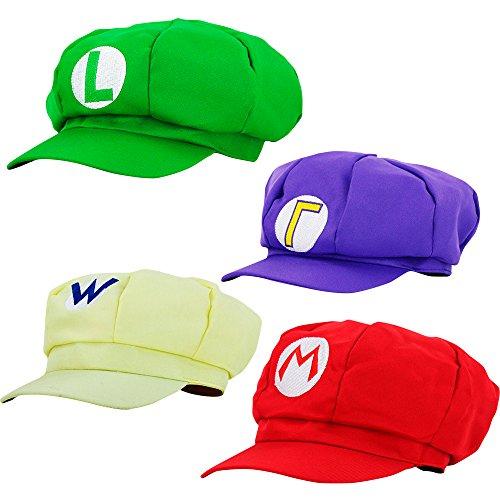 Und Waluigi Kostüm Wario - thematys Super Mario Mütze Luigi Wario Waluigi - 4er Kostüm-Set für Erwachsene & Kinder - perfekt für Fasching, Karneval & Cosplay - Klassische Cappy Cap