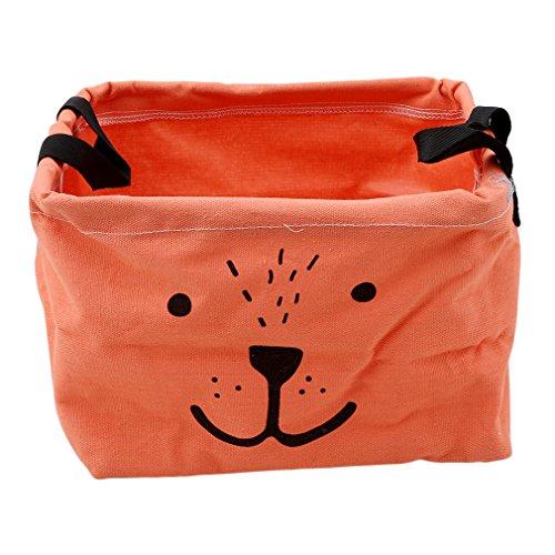 HENGSONG Cartoon Praktische Aufbewahrungsbox Korb Kosmetik Koffer Make-up Tasche Spielzeug Ablagebox Desktop Organizer für Haus Kinderzimmer Büro Aufbewahrung (Orange)