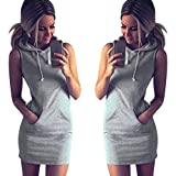 JUTOO Fashion Dawomen Sommer Casual Sleeveless Hoody Kleid(Grau , EU:42/CN:XL)