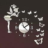 Forepin® Moderne Frameless 3D Wanduhr DIY Wandaufkleber Clock Wandtattoo Spiegel Oberfläche Aufkleber Spiegeleffekt Aufkleber Haus und Büro Dekoration Plexiglas Engel und Schmetterling Muster Set - Silber