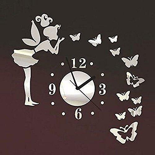 Forepin® moderno stile deluxe effetto tridimensionale grande 3d sticker orologio senza cornice per casa ufficio hotel ristorante decorazione vetro acrilico angelo e farfalla modello di serie - argento