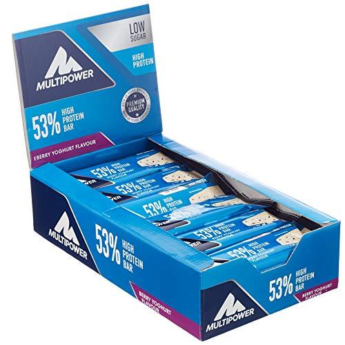 Multipower 53% Protein Bar - 24 x 50 g Eiweißriegel Box - Berry Yoghurt - Fitnessriegel mit 53 % hochwertigem Protein - 27 g Eiweiß pro Proteinriegel -