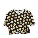 Camiseta top, de manga corta recortada, de Fringoo®, para jóvenes Emoji Black - Tee Talla única