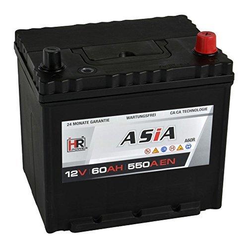 Preisvergleich Produktbild HR HiPower ASIA Autobatterie 12V 60Ah Japan Pluspol Rechts Starterbatterie ersetzt 40Ah 50Ah 65Ah 70Ah