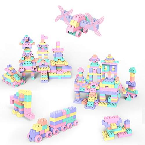 Bausteine groß 150 Stücke für Kleinkinder 1-6 Jahre Mädchen Jungen kindergarten Bauklötze Plastik Lernspielzeug puzzle Bausteine Kreative pädagogische Steckbausteine mit Aufwahrungsbox als Geschenk