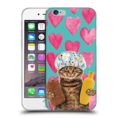 Grand Phone Cases Schutz Hülle TPU Case Schutzhülle Silikon Tasche Dünn Transparent // Q05610690 Badende Katze Valentine // Apple iPhone 6 4.7