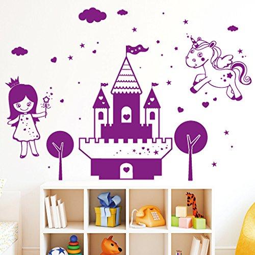 Wandtattoo-Loft-Wandaufkleber-Mrchen-Schloss-mit-Prinzessin-und-Einhorn-Wandtattoo-54-Farben-und-3-Gren-whlbar-Dekoration-fr-das-Kinderzimmer-elfenbein-115-cm-hoch-x-163-cm-breit