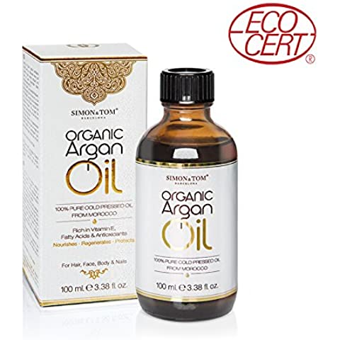 Simon & Tom Aceite de Argán orgánico puro de Marruecos prensado en frío certificado por Ecocert