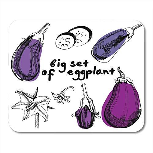 Mauspad, violett, Aubergine, Vintage, gesunde Bio-Speisen, für Notebooks, Desktop-Computer, Bürobedarf, 25 x 30 cm -