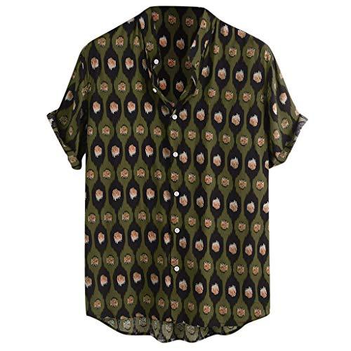 SoonerQuicker Camisa de Hombre T Shirt tee Mens Vintage Punto Impreso Soporte Cuello Manga Corta Suelta Camisas Ocasionales Blousa tee(Verde M)
