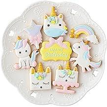 BONYTAIN - Juego de 8 moldes de plástico para galletas de unicornio y pastelería
