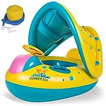 Y # x3010; Hasta Que y # x3011; seguridad para bebé niño inflable anillo de natación asiento barco de flotador de agua nadar piscina con parasol ajustable + un plástico pie bomba de aire inflador