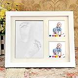 babalino EasyRemember - der personalisierter Baby-Bilderrahmen, DIY Gipsabdruck-Set für Hände und Füße als Foto-Collage, Geschenk zur Taufe und erste Erinnerung zur Geburt, weiß