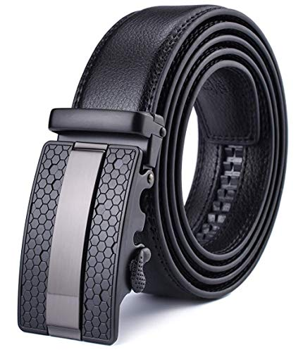 Xhtang-Ledergürtel Herren Automatik Gürtel mit Automatikschließe-3,5cm Breite S - Schwarz - Länge 110cm (Geeignet für 30-36 taille)