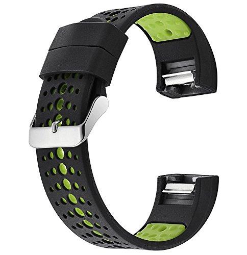 Fatetec Band für Fitbit Charge 2 Fitness Zwei-Farben-Armband Ersatz-verstellbare Armband-Armband für Fitbit Charge 2 Herzfrequenz Zubehör Uhrenarmbänder (Black Green)
