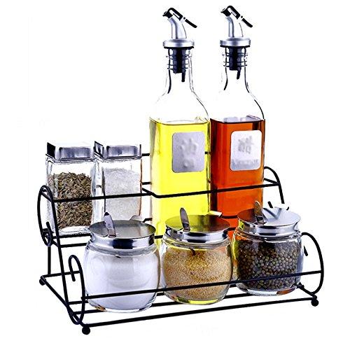MEI XU Bleifreies Glas 2 Schichten 2 + 2 + 3 Anzug / 3 + 3 Anzug Küche Gewürzflaschen Gewürzregal Set Größe: 27 * 17 * 20 cm / 27 * 17 * 26 cm / 27 * 17 * 31 cm Regal (Color : C) - 2-schicht-anzug