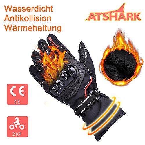 Motorradhandschuhe Herren, Atshark Motorrad Handschuhe Wasserdicht Touchscreen Handschuhe 2KP Warm Winterhandschuhe Kälteschutz Rutschfest Fahrradhandschuhe Herren Damen für Skifahren Wintersport